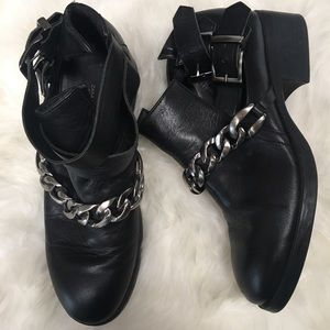Zara Leather Chain Ankle Boots